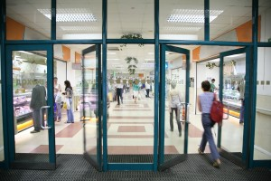 Video sensor people counters installed over doors to a mall