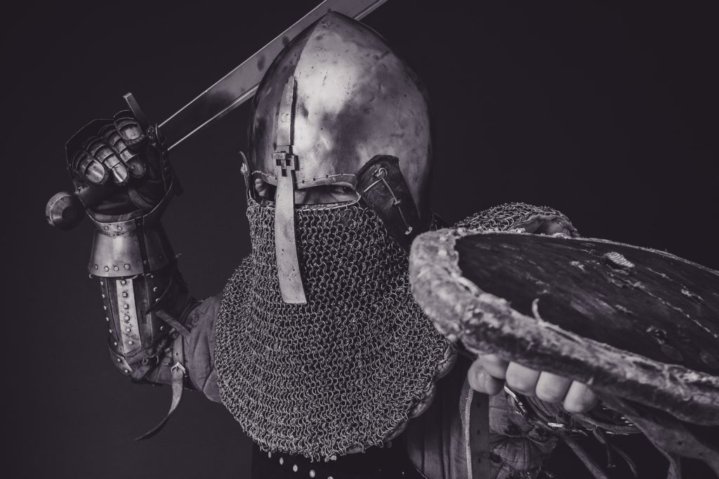 Man in armor fighting retail fraud