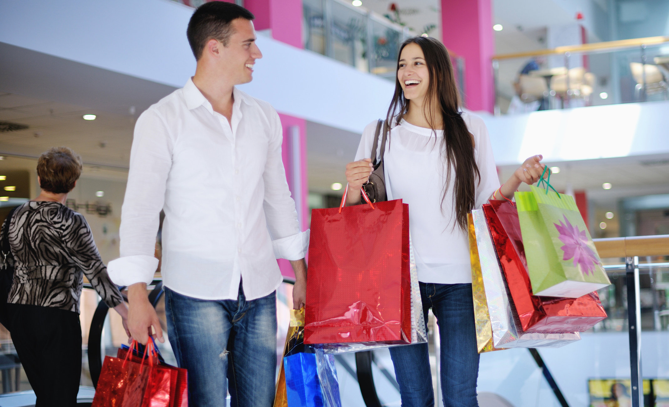 Couple shopping in a mall