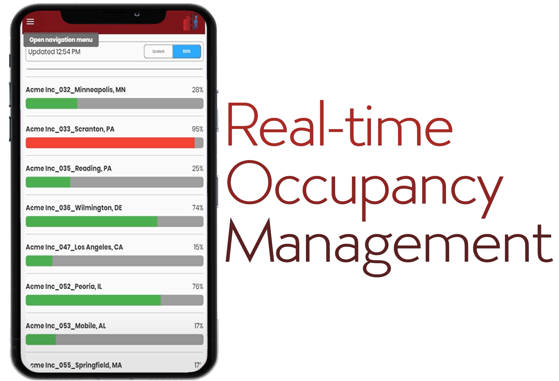 Real time occupancy management on phone graphic