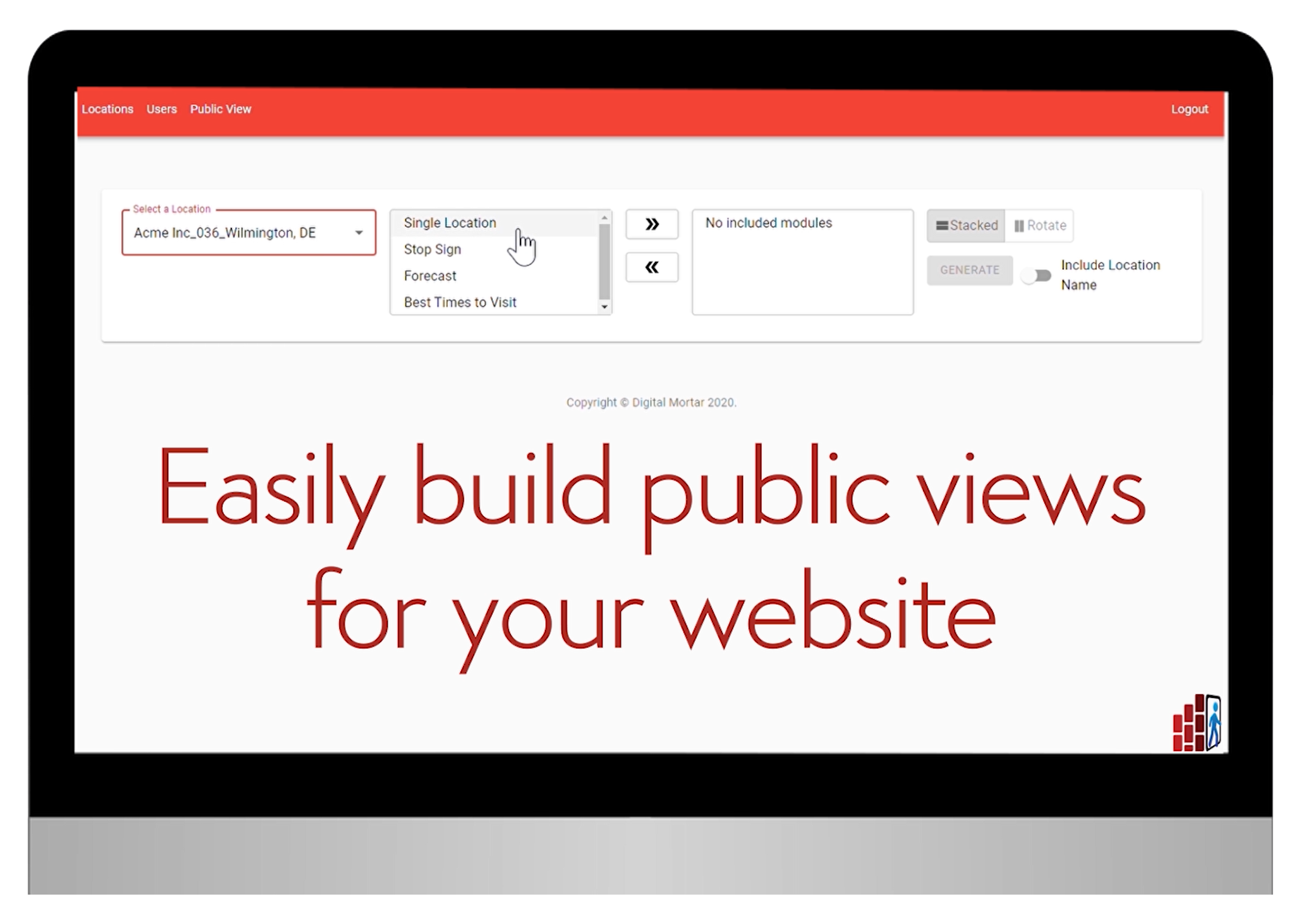 easily build public views for your website graphic on a computer